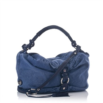 Francesco Biasia Blue Canvas Slouch Shoulder Bag