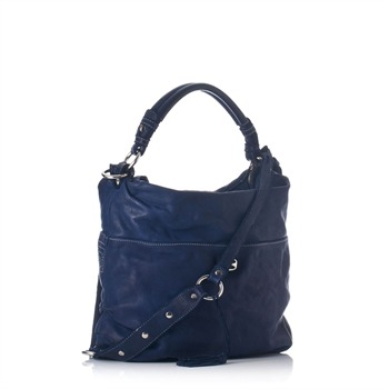 Francesco Biasia Navy Leather Tassel Hobo Bag