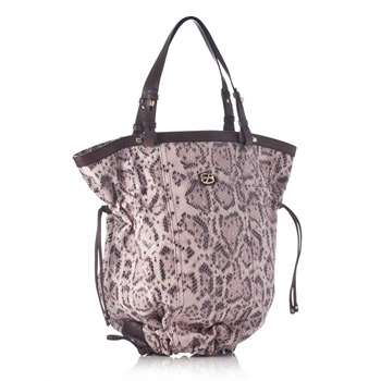 Francesco Biasia Pink Snakeskin Bottom Drawstring Bag