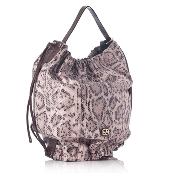 Francesco Biasia Pink Snakeskin Backpack Bucket Bag