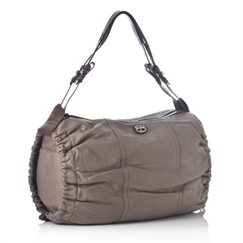 Francesco Biasia Brown/Army Green Ruched Hobo Bag
