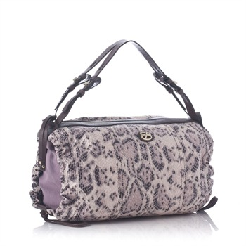 Francesco Biasia Pink Snakeskin Ruched Hobo Bag