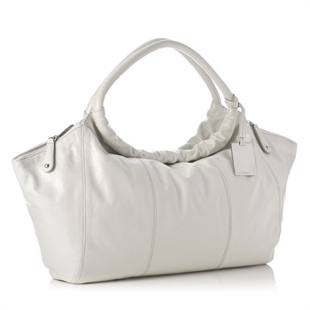 Furla White Patent Circle Handle Ruched Bag