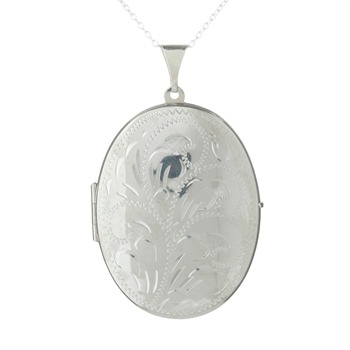 The Real Silver Company Sterling Silver Egraved Medium Oval Locket