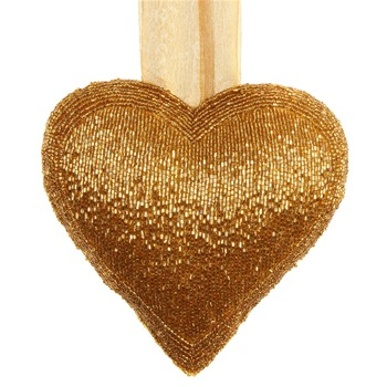 Landon Tyler Gold Beaded Heart Ornament
