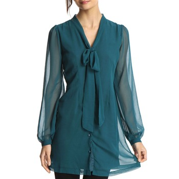 Miss Real Teal Long Sleeve Shirt Dress