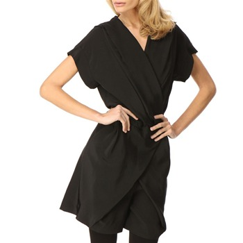 Jaeger London Black Hooded Silk Playsuit
