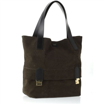Jaeger London Khaki Catwalk Suede Tote Bag