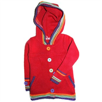 Sugar Pink Red Hooded Button Cardigan
