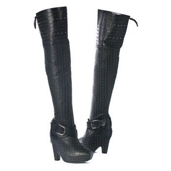 Sam Edelman SS Black Studded Ankle Strap Over the Knee Boots 13.5cm Heel