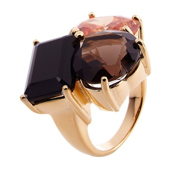 Valles Dordal Multicoloured Triple Stone Gold Plated Ring
