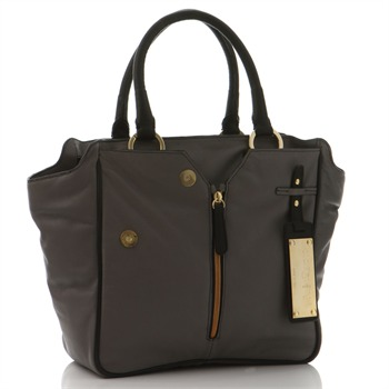 Clarmonia Grey/Black Colorinda Exposed Leather Zip Arm Handbag