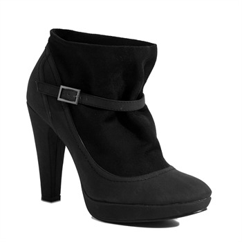 Red Hot Black Tonal Buckle Ankle Boots 11cm Heel