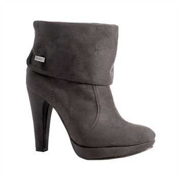 Red Hot Dark Grey Fold Over Ankle Boots 11cm Heel