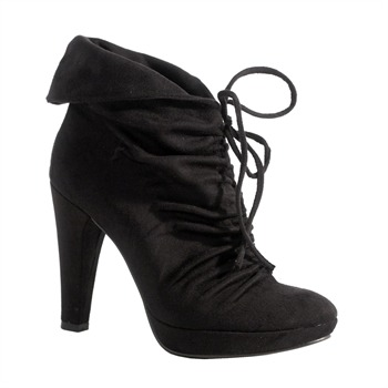 Red Hot Black Ruched Ankle Boots 11cm Heel