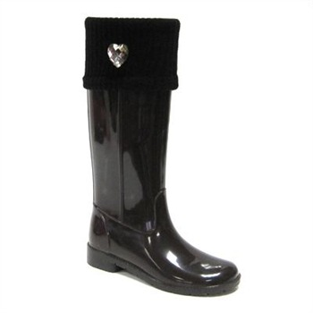 Ma Cri Black Gloss Fold Over Cuff Wellington Boots 3cm Heel