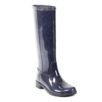 Favolla Black/Purple Glitter Ribot Tall Gloss Wellington Boots 3cm Heel