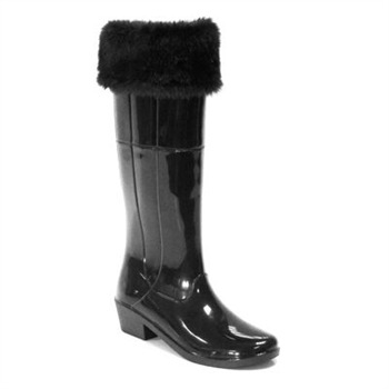Favolla Black Alaska Faux Fur Cuff Wellington Boots 3cm Heel