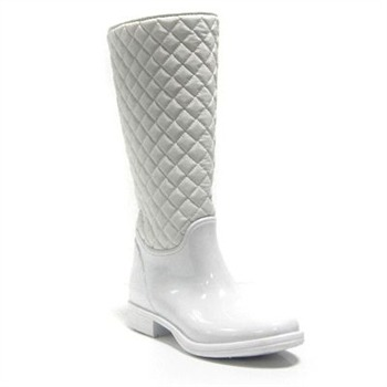 Ma Cri White Quilted Texas Wellington Boots 2cm Heel