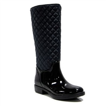 Favolla Black Quilted Texas Wellington Boots 2cm Heel