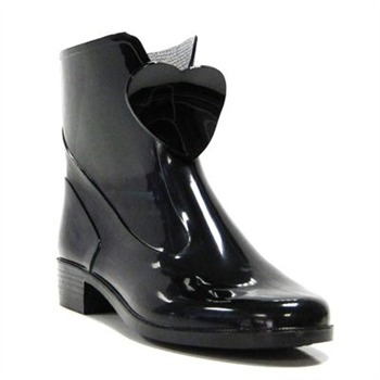 Ma Cri Black Heart Jelly Ankle Wellington Boots 3cm Heel