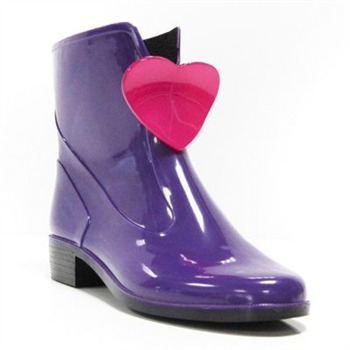 Ma Cri Purple/Pink Heart Ankle Wellington Boots 3cm Heel