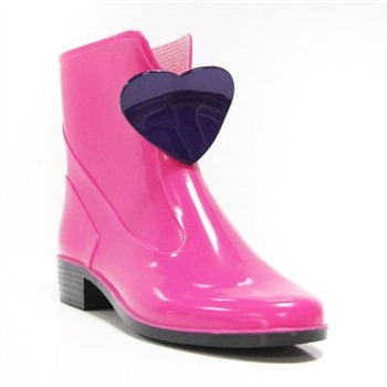Ma Cri Pink/Purple Heart Ankle Wellington Boots 3cm Heel