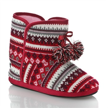 Sleep Boutique Red/Multi Snowflake Slipper Boots