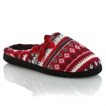 Sleep Boutique Red/Multi Snowflake Stripe Slippers