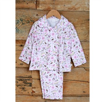 Mini Vanilla White/Pink Printed Traditional Pyjamas/Bag