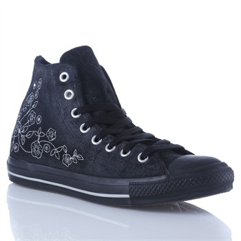 Converse Women's Black/Silver Leather  All Star High Top Trainers