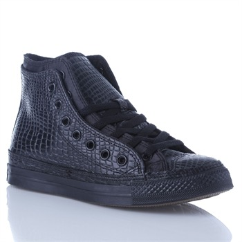 Converse Women's Black Leather Double Upper High Top Trainers