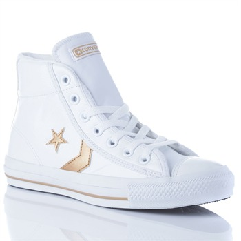 Converse Women's White/Gold Leather Star Player High Top Trainers