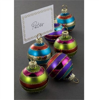 Heaven Sends Purple/Green/Blue/Red Bauble Place Card Holder Set