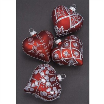 Heaven Sends Red/Silver Glass Hearts Christmas Decoration Set