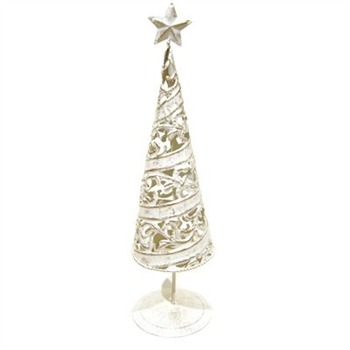 Heaven Sends Bronze/White Metal Christmas Tree Tea Light Holder