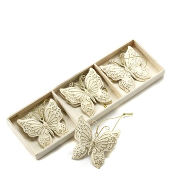 Heaven Sends Set of Six Cream/Gold Hanging Butterflies