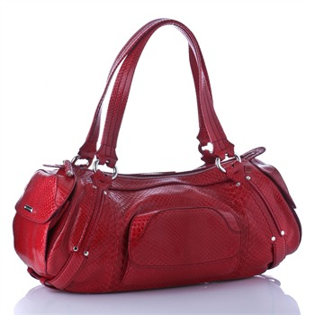 Cline Red Snakeskin Leather Bowling Bag