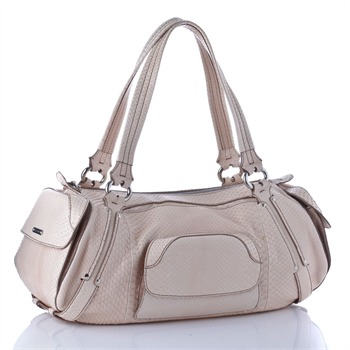 Céline Cream Snakeskin Leather Bowling Bag