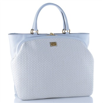 Dolce & Gabbana White Weave/Leather Shopper