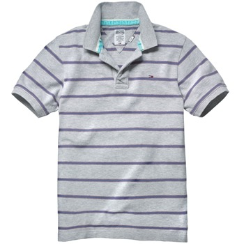Hilfiger Denim Light Grey Stripe Pilot Cotton Polo Shirt