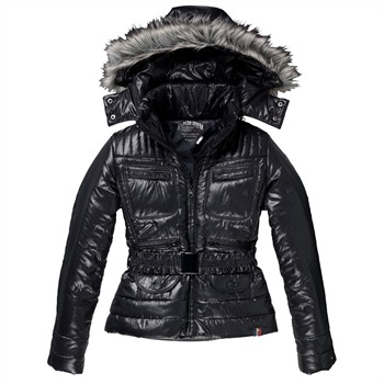 Hilfiger Denim Black Omaha Faux Fur Padded Jacket
