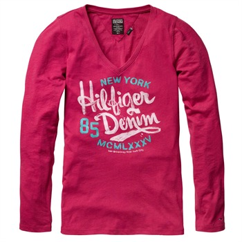 Hilfiger Denim Pink Lala Branded V-Neck Top