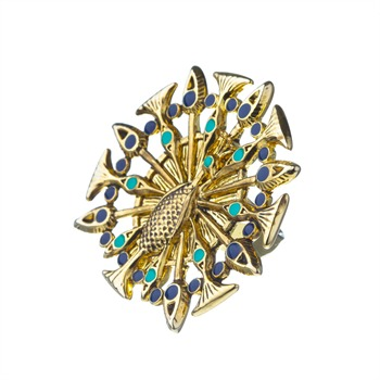House Of Harlow Yellow Gold Plated Peacock Ring
