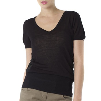 Kookai Black Wrap Jersey Top