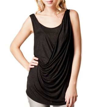 Kookai Black Half Draped Top