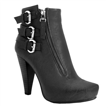 Red Hot Black Triple Buckle Ankle Boots 10.5cm Heel