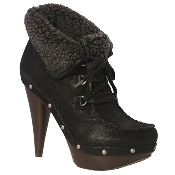 Red Hot Black Faux Shearling Ankle Boots 11.5cm Heel
