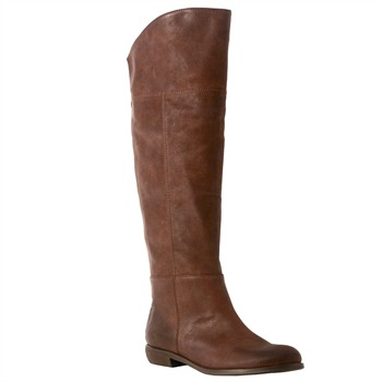 Red Hot Tan Panel Calf Length Boots 3cm Heel
