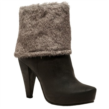 Red Hot Brown Faux Fur Ankle Boots 10.5cm Heel